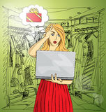 Vector woman buy Christmas gifts online Stock Photos