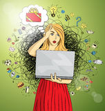 Vector woman buy Christmas gifts online Stock Photo
