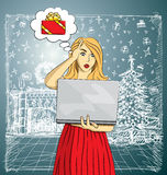 Vector woman buy Christmas gifts online Stock Images