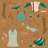 Vector woman  clothes set Royalty Free Stock Images