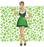 Vector Woman In Drindl On Saint Patricks Day Royalty Free Stock Photography