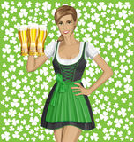 Vector Woman In Drindl On Saint Patricks Day Royalty Free Stock Images