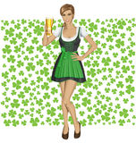Vector Woman In Drindl On Saint Patricks Day Stock Photo