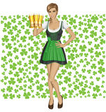 Vector Woman In Drindl On Saint Patricks Day Stock Image
