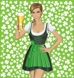 Vector Woman In Drindl On Saint Patricks Day Royalty Free Stock Photos