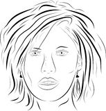 Vector woman face 2. Vector graphic (face detail) black Stock Photo