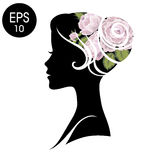 Vector Woman Face. Black Flowered Silhouette. Vintage profile Royalty Free Stock Images