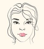 Vector woman face Royalty Free Stock Image