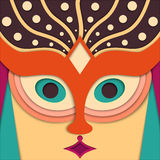 Vector woman face in the oriental style Royalty Free Stock Image