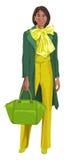 Vector of woman with handbag. Royalty Free Stock Photo
