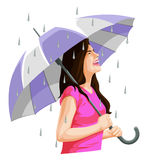 Vector of woman having fun in rain. Royalty Free Stock Photos