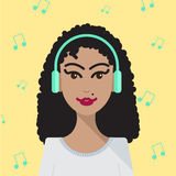 Vector woman listening to music illustration Stock Image