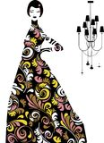 Vector - woman with a long dress. Vector drawing woman standing with a long dress Royalty Free Stock Images