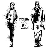 Vector woman and man fashion models. Autumn collection, stylish outfit, splash stile. Fashion is all we need Royalty Free Stock Image