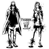 Vector woman and man fashion models. Vector woman and man models dressed in hipster style, outfit, splash stile. Fashion is all we need Royalty Free Stock Image