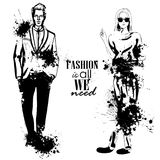 Vector woman and man fashion models. Hipster look, splash stile. Fashion is all we need Stock Images
