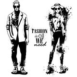 Vector woman and man fashion models. Spring hipster outfit, splash stile. Fashion is all we need Royalty Free Stock Photo