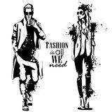 Vector woman and man fashion models. With sunglasses, autumn outfit, splash stile. Fashion is all we need Stock Photo