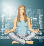 Vector woman meditating in lotus pose Royalty Free Stock Images