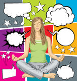Vector woman meditating in lotus pose with set of speech bubble Stock Photos
