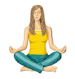 Vector woman meditating in lotus pose Royalty Free Stock Photos