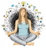 Vector Woman Meditation in Lotus Pose Royalty Free Stock Images