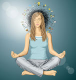 Vector Woman Meditation in Lotus Pose Stock Images