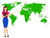 Vector woman meteorologist broadcast on TV Stock Images