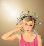 Vector woman overhearing something Royalty Free Stock Images