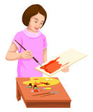 Vector of woman painting on canvas. Royalty Free Stock Photo