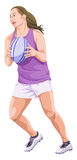 Vector of woman playing rugby football. Royalty Free Stock Photos