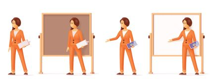 Vector woman pointing at flip chart whiteboard stock photography