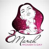 Vector Woman portrait with blossom and shine. Women`s Day. Stock Photography