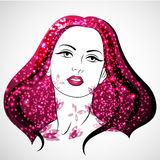 Vector Woman portrait with blossom and shine. Women`s Day. Love and Passion stock illustration