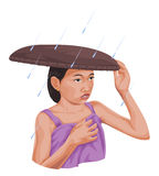 Vector of woman protecting herself from rain. Royalty Free Stock Photos