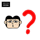 Vector woman with question mark over his head Royalty Free Stock Images