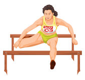 Vector of woman running hurdles. Royalty Free Stock Images