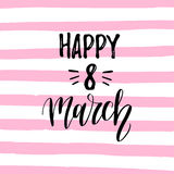 Vector Woman`s day handwritten lettering card. Vintage curly calligraphy Happy 8 of March on stripe pink background. Vector Woman`s day handwritten lettering royalty free illustration