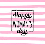Vector Woman`s day handwritten lettering card. Vintage curly calligraphy Happy 8 of March on stripe pink background. Vector Woman`s day handwritten lettering vector illustration