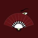 Vector woman's green eye behind spanish fan with bottles of wine and grape on bordeaux background Royalty Free Stock Photos