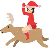 Vector woman santa ride reindeer adventure christmas go smile greet Royalty Free Stock Image