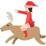 Vector woman santa ride reindeer adventure christmas go smile joy Stock Photography
