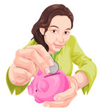 Vector of woman saving in piggy bank. Stock Photos