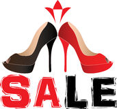 Vector woman shoes sale illustration Royalty Free Stock Image