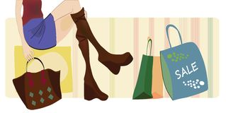 Vector of a Woman on Shopping with Bags and Boots Stock Photo