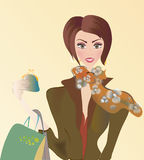 Vector of a Woman on Shopping with Bags Royalty Free Stock Photo