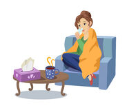 Vector woman suffering from cold, flu concept. Vector illness concept, cartoon illustration isolated on a white background. Adult woman sitting in armchair in Stock Images