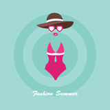 Vector woman swimsuit and sunglasses illustration in flat style Royalty Free Stock Photography