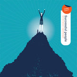 Vector woman on top of the hill Royalty Free Stock Photo