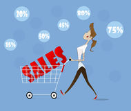 Vector woman with trolley. Royalty Free Stock Photography